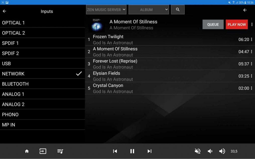 Moon Mind App Eingänge und playlist