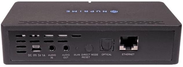 NuPrime WR-100 Wireless Audio Adapter - Rückansicht mit Anschlüssen