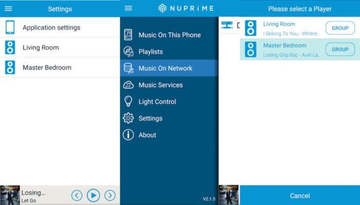 APP - Settings - Einstellung des Musiknetzwerkes