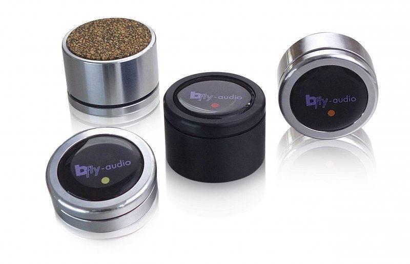 bFly-Audio PURE Gerätefüße in drei Bauhöhen, Alu und schwarz