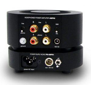 Divaldi AMP-02 Kopfhörerverstärker mit Phono-Eingang. Rückseitige Anschlüsse