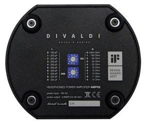 Divaldi AMP-02 Kopfhörerverstärker mit Phono-Eingang. MM/MC Einstellungen an der Unterseite