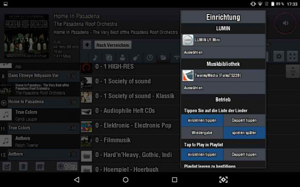 LUMIN APP - Einstellungsmenue (Screenshot)