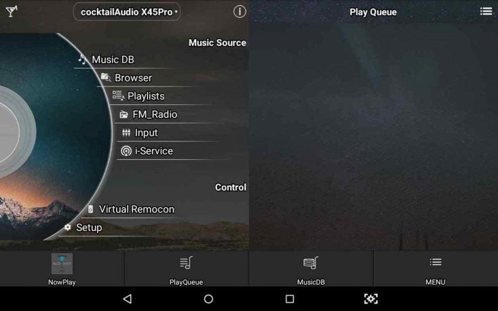 Startbildschirm der funktionalen Music X App