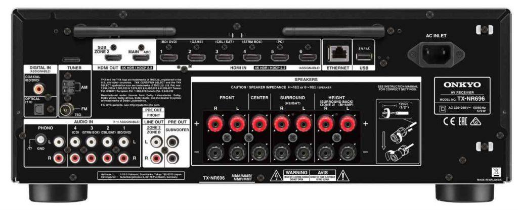 ONKYO TX-NR 696 Surroundreceiver Anschlüsse