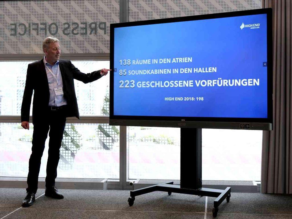 High End 2019 in München. Stefan Dreischärf präsentiert die Zahlen