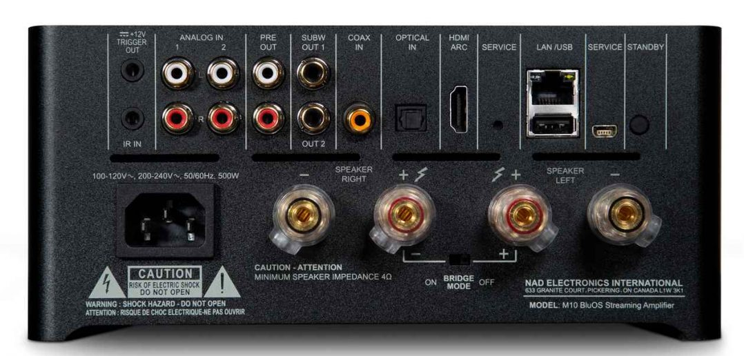 Anschlüsse des NAD M10 Streaming Vollverstärker