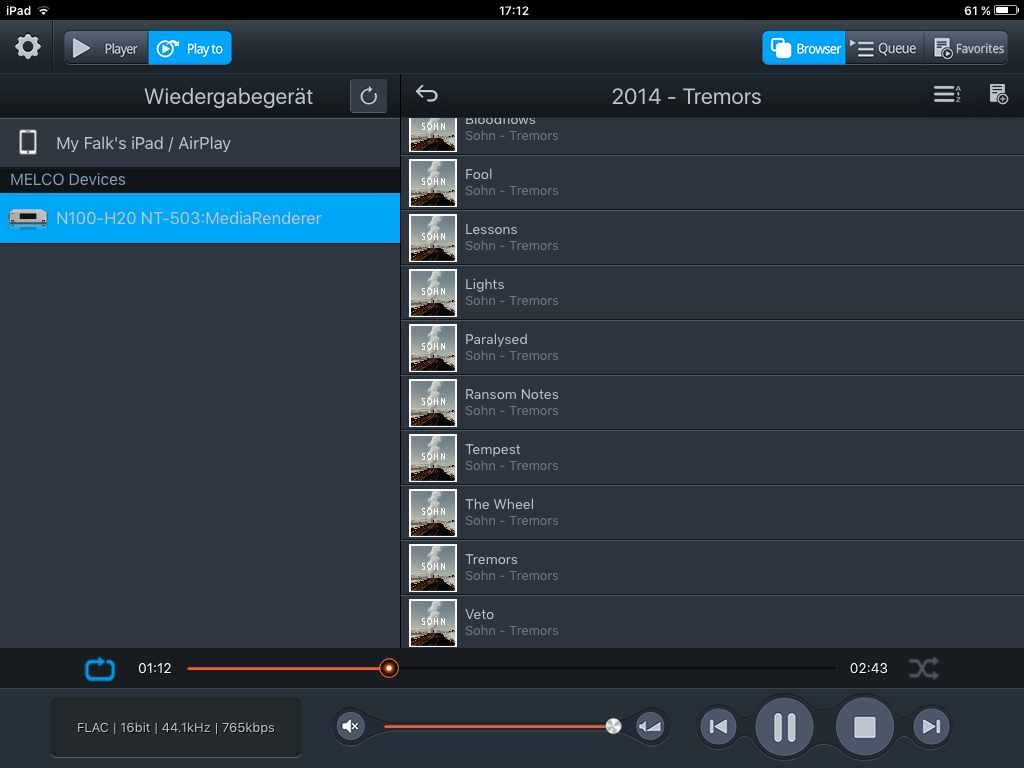 MELCO APP im Airplay Modus (Screenshot)