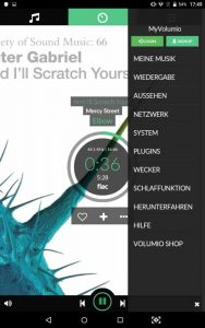 VOLUMIO Primo HiFi Screenshots Musikplayer mit Einstellungen