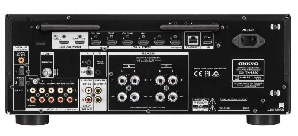 Anschlüsse des neuen HiFi-Receiver TX 8390 von ONKYO