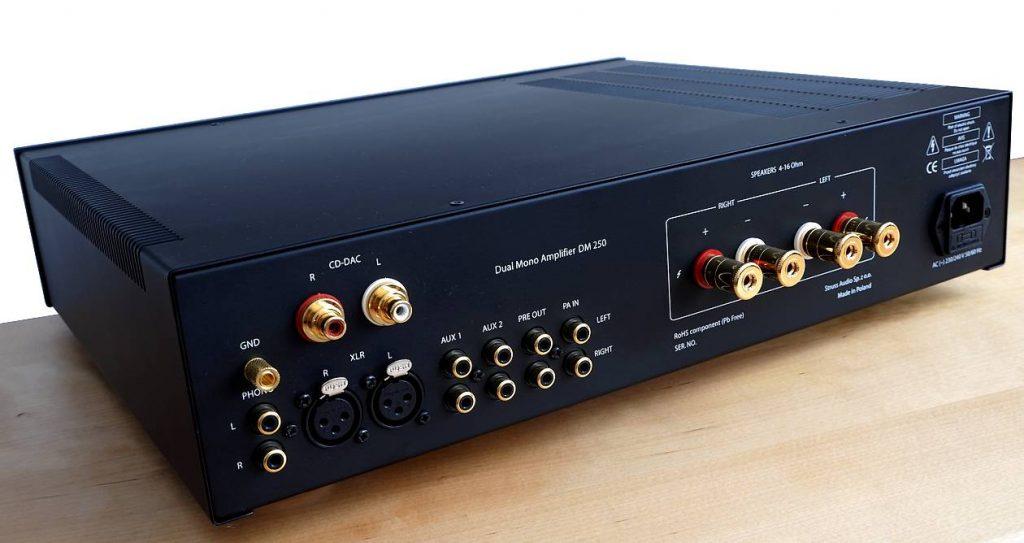 High End Vollverstärker Struss Audio DM 250. Hier auf dem Bild die Anschlüsse