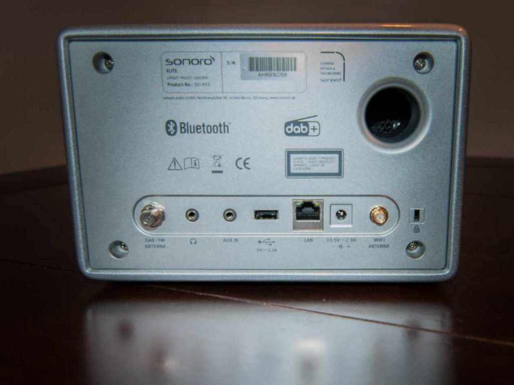 Sonoro ELITE - Geräterückseite mit Anschlüssen