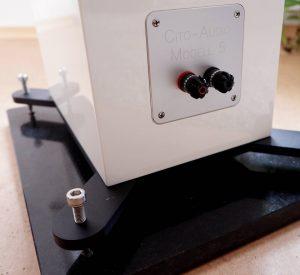 WBT Lautsprecheranschlüsse am Standlautsprecher Cito Audio Modell 5
