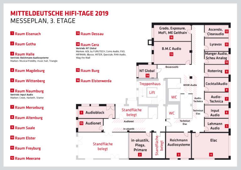 Mitteldeutsche HiFi-Tage. Ausstellerplan Drittes Obergeschoss