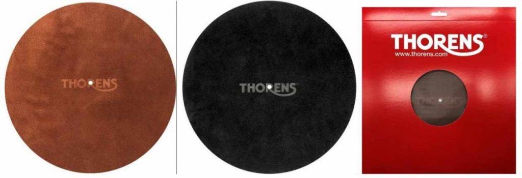 Rote und braune Plattentellermatte aus Leder von Thorens