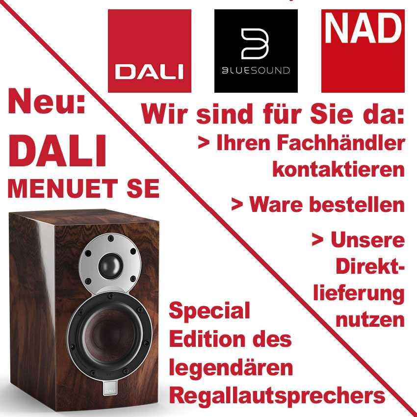 Dali, Bluesound und NAD liefern direkt nach Haus