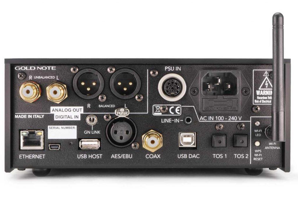 Streamer-DAC Gold Note DS-10 Plus. Im Bild die Rückseite mit dem Analog-Eingang