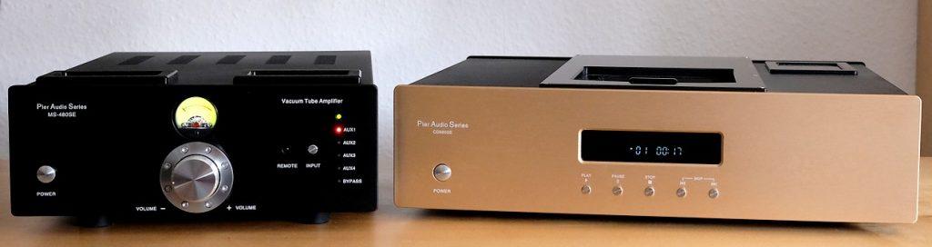 Im Test der Röhren-Hybrid-Vollverstärker Pier Audio MS 480 SE. Auf seiner rechten Seite der CD-Spieler 880 SE.