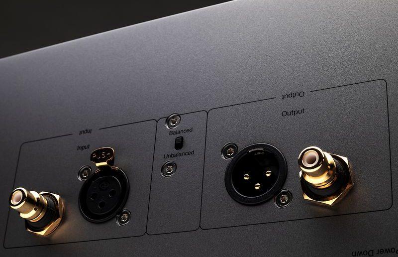 Im Bild die Cinch- und XLR-Anschlüsse der High End Mono Endstufen Cambridge Audio Edge M