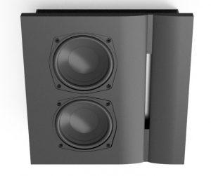Draufsicht auf den aktiven Lautsprecher für Wandeinbau