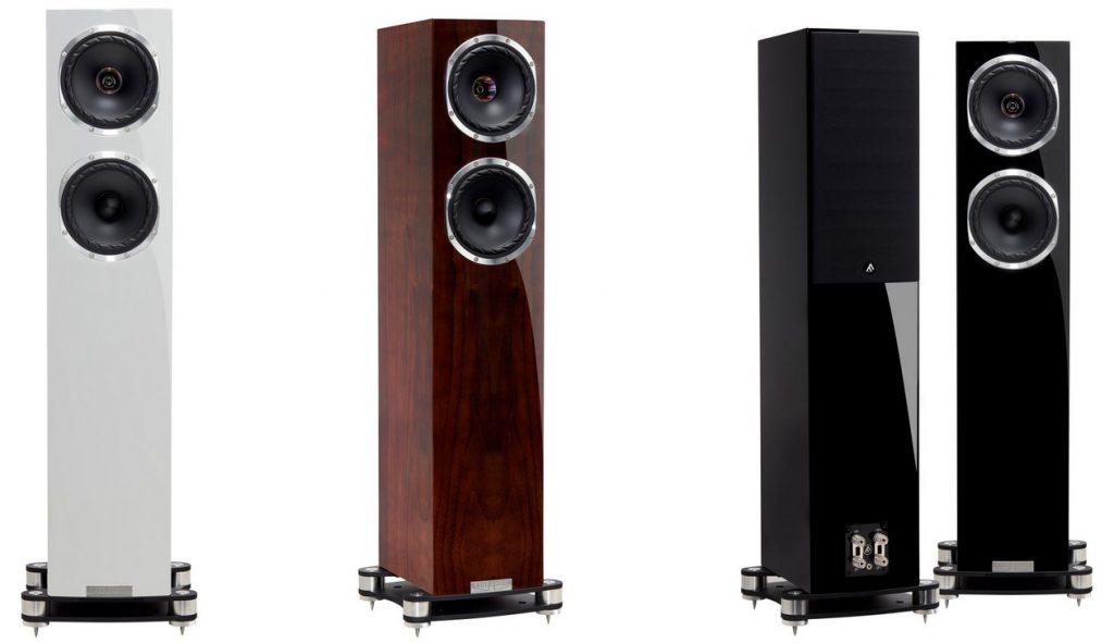 Im Bild die Farben und Funiere der Koaxial-Standlautsprecher Fyne Audio F501 SP: Hochglanz Walnuss, Schwarz oder Weiß