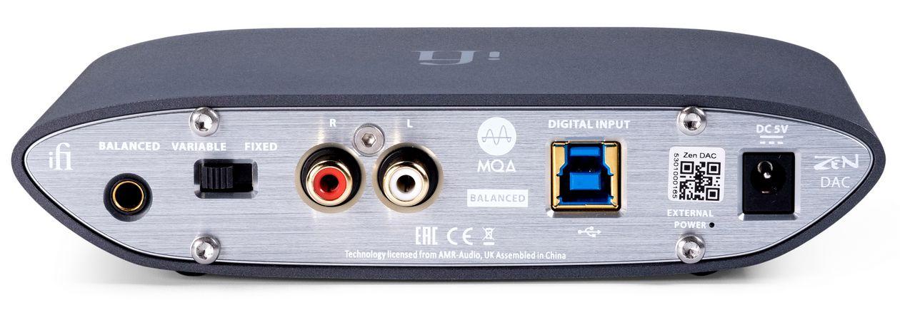 iFi ZEN DAC V2 Kopfhörerverstärker– jetzt mit MQA Decoder und neuem XMOS Chip. Im Bild die Rückseite des Kopfhörer-Verstärker mit dem USB-Anschluss