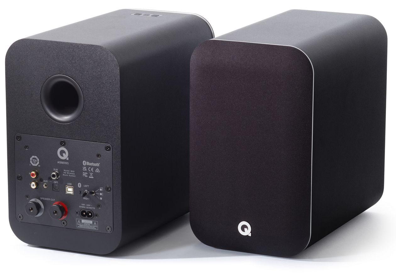 Im Bild die Neuheit kabelloser aptx HD Lautsprecher Q Acoustics M20 um 500 Euro.