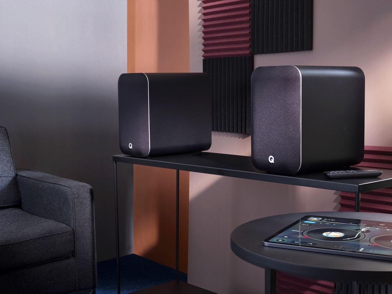 Im Bild die Neuheit kabelloser Lautsprecher Q Acoustics M20 um 500 Euro.