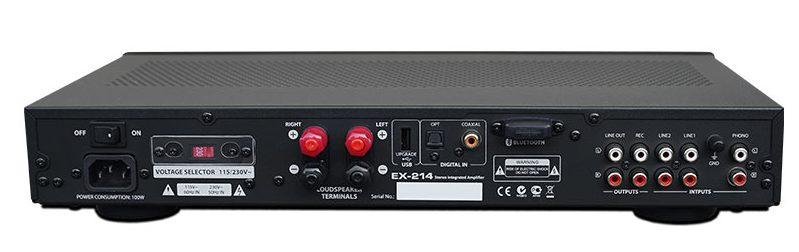 Die Cinch-Anschlüsse am HiFi-Stereo-Vollverstärker BC Acoustique EX 214