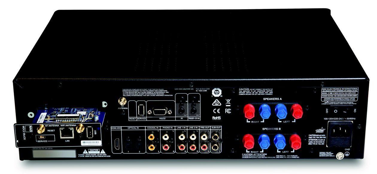 Im Bild der neue Streaming-Verstärker NAD C 399. Hier im Bild der HDMI-Anschluss.