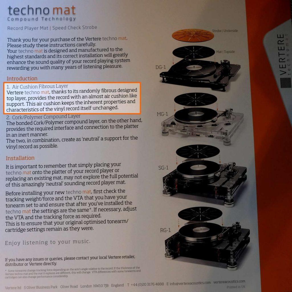 Bedienungsanleitung der Plattentellerauflage Vertere Techno Mat