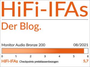 Test-Ergebnis des Standlautsprecher Monitor Audio Bronze 200 in der 1.000 Euro-Klassse: 5,7 von 6,0 Punkten.