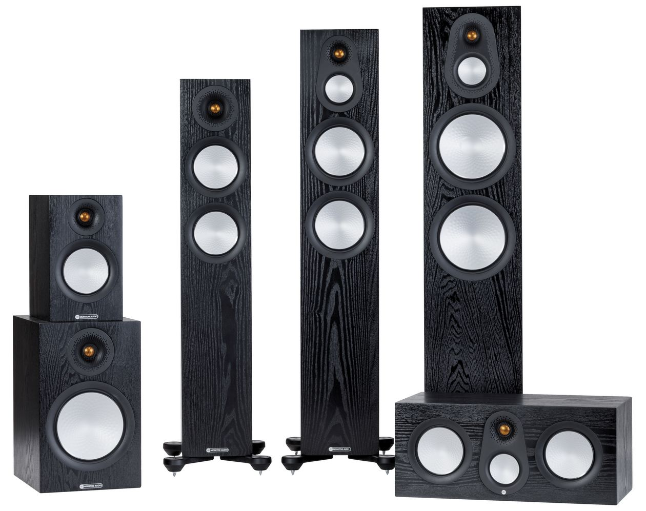 Im Bild die neuen HiFi-Lautsprecher Monitor Audio 7G in Eiche schwarz.